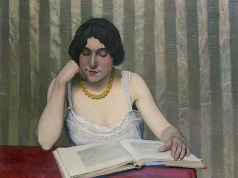 Woman Reading with Yellow Necklace, 1912 Giclee Print