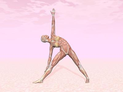female musculature performing triangle yoga pose prints at