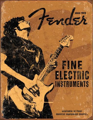 Fender, rocka på Plåtskylt