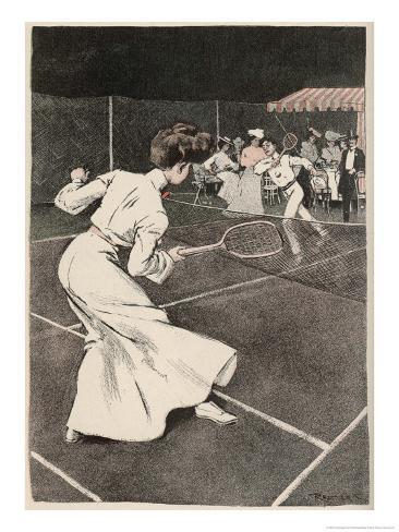 Woman Playing Tennis in Long White Skirt Giclee Print