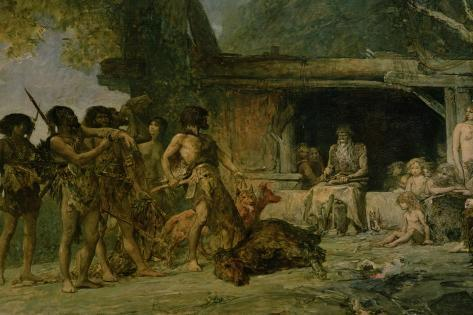 The Stone Age, Returning from a Bear Hunting, 1882 Lámina giclée