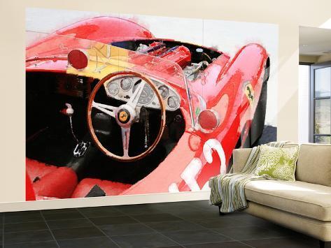 Ferrari Cockpit Monterey Watercolor Wall Mural Large at