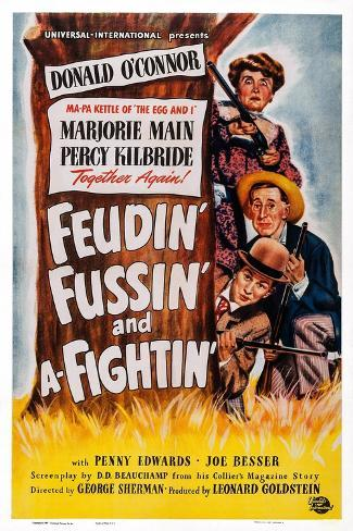 Feudin', Fussin' and A-Fightin', from Bottom: Donald O'Connor, Percy Kilbride, Marjorie Main, 1948 Art Print