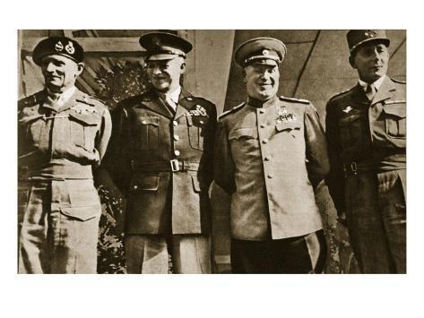 Field Marshal Montgomery, General Eisenhower, Marshal Zhukov, and General De Lattre De Tassigny Giclee Print