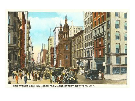Fifth Avenue, 42nd Street, New York City Art Print