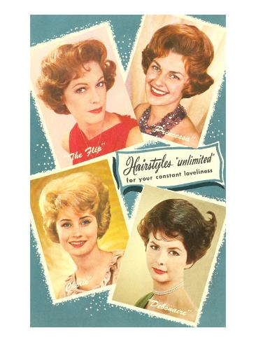 Fifties Hairstyles Art Print