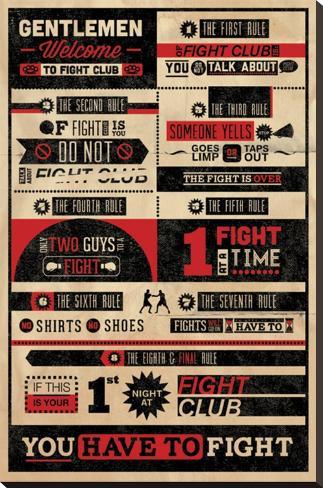 Fight Club, Infografica delle regole, in inglese Stampa su tela