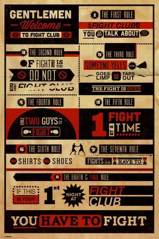 Fight Club - Rules Pôster com moldura laminada