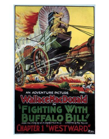 Fighting With Buffalo Bill - 1926 Lámina giclée