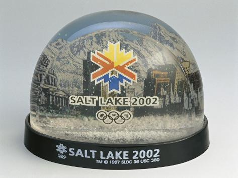 Figurines of 2002 Winter Olympics in a Snow Globe Stretched Canvas Print