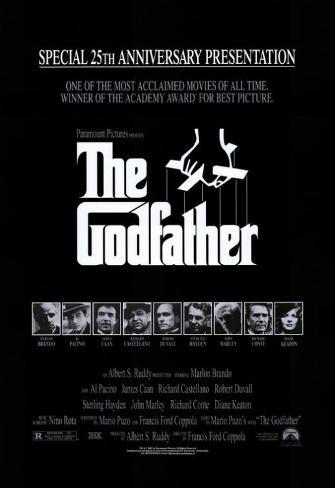 Filmposter uit The Godfather met Engels citaat Masterprint