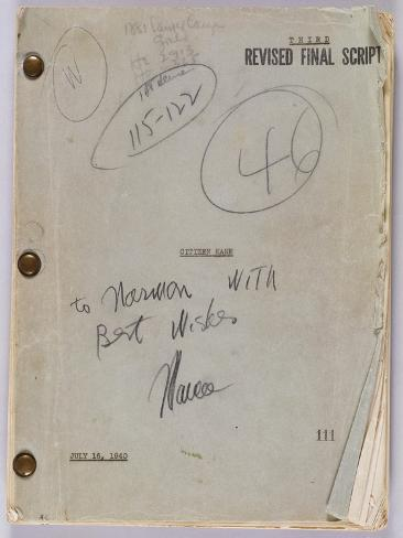 Final Script for Film 'Citizen Kane' with Annotations in Orson Welles' Hand, July 16th, 1940 ジクレープリント