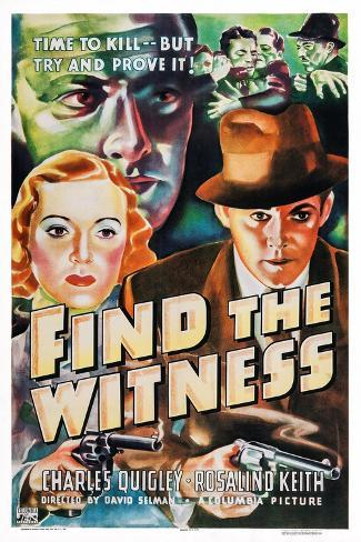 Find the Witness, Rosalind Keith, Charles Quigley, 1937 Art Print