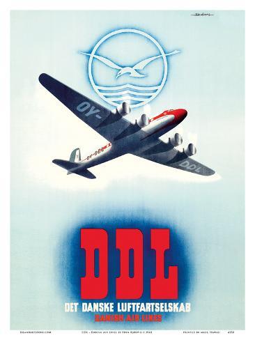 DDL - Danish Air Lines (Det Danske Luftfartselskab) Art Print