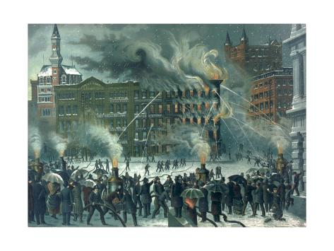 Fire in the New York World Building, Dedicated to 'Our Brave Firemen', Pub. by W.M. Bruns, 1882 Stretched Canvas Print