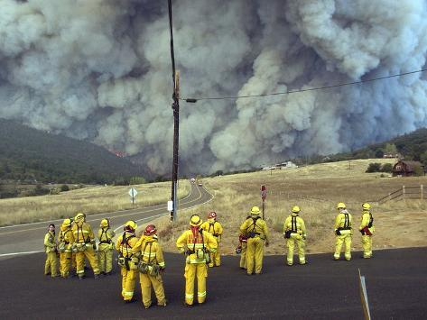 Firefighters Watch a Monstrous Cloud of Smoke Approach Photographic Print
