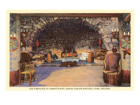 Fireplace at Hermit's Rest, Grand Canyon Art Print