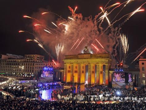 Fireworks at the Brandenburg Gate in Berlin, Germany Commemorating the Fall of the Berlin Wall Photographic Print