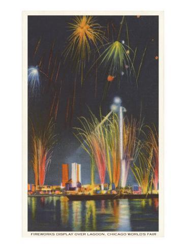Fireworks Display, Chicago World's Fair Art Print