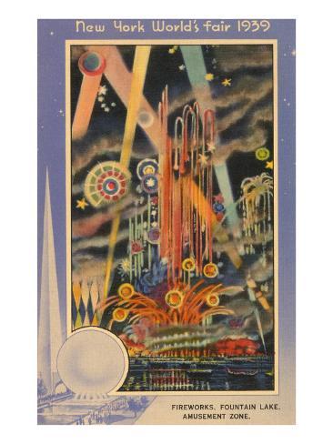 Fireworks, New York World's Fair, 1939 Art Print