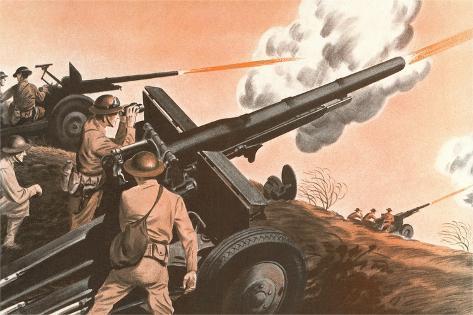 Firing Cannon Premium Giclee Print