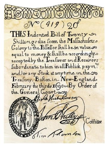 who was responsible for printing the first paper money Over three centuries ago on this day, massachusetts printed america's first paper money before creating bills, americans used pine tree shillings and other coins as their currency after the .