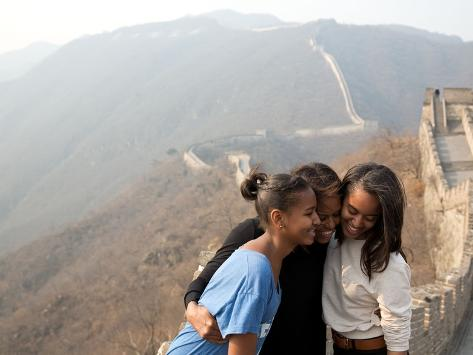 First Lady Michelle Obama and Daughters Sasha and Malia on the Great Wall of China Photo