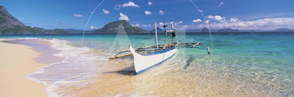 Fishing Boat Moored On The Beach Palawan Philippines