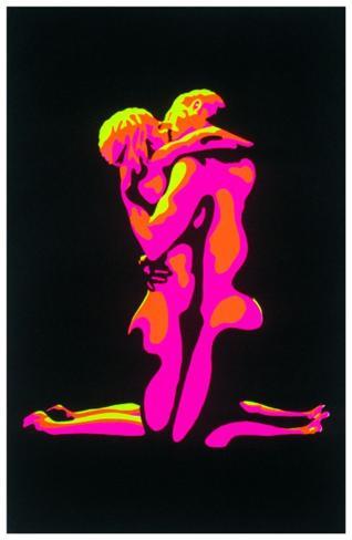 Flaming Love Blacklight Poster