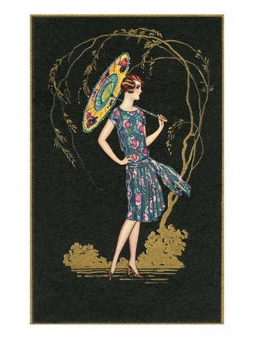 Flapper with Parasol Art Print