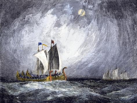Fleet of Viking Ships at Sea Stampa giclée