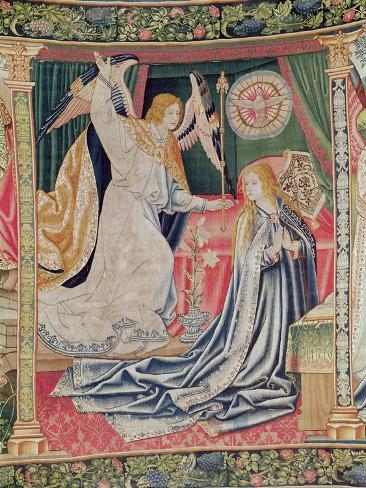 The Annunciation, Brussels Workshop, C.1510 (Tapestry) Stampa giclée