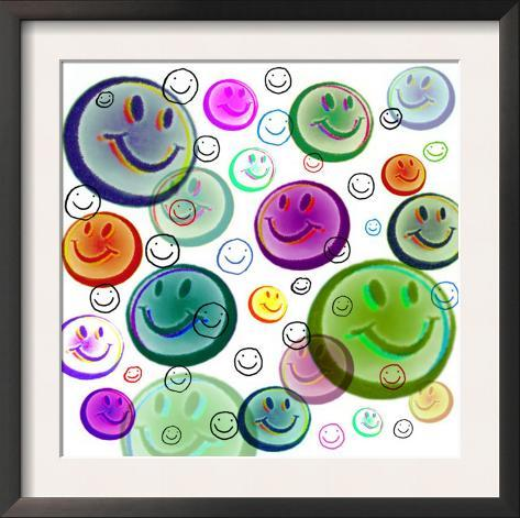 Floating Smiley Faces Framed Art Print