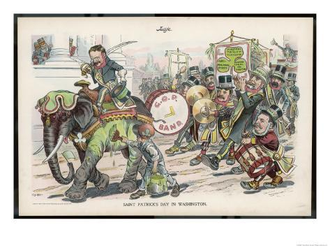 Theodore Roosevelt 26th American President Celebrating St. Patrick's Day in Washington Giclee Print