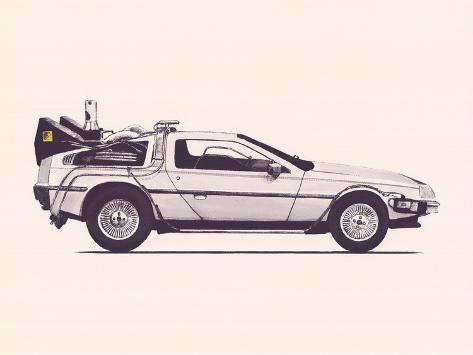 Delorean Back To The Future Framed Art Print