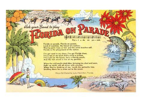 Florida on Parade, Lyrics Art Print