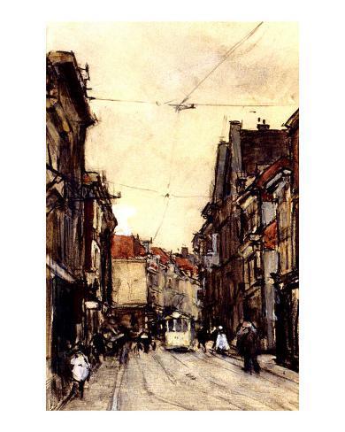 Busy Street at the Hague Netherlands Framed Art Print