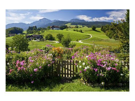 Flower Garden at Hoeglwoerth Monastery, Upper Bavaria, Bavaria, Germany Art Print