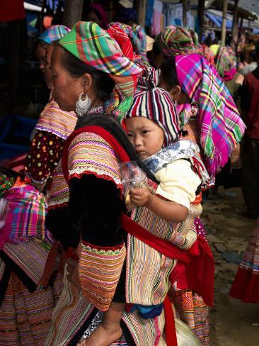 Flower Hmong Woman Carrying Baby on Her Back, Bac Ha Sunday Market, Lao Cai Province, Vietnam Photographic Print