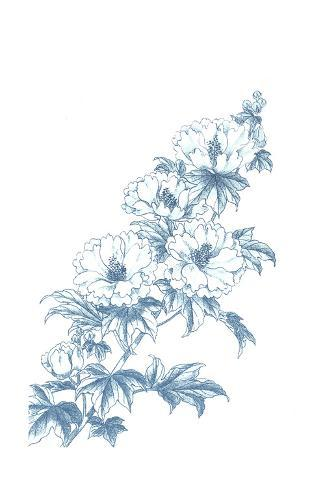 Flowering Branch Illustration in Blue Art Print