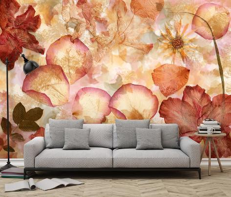 Flowers Decoupage - Non Woven Mural Carta da parati decorativa