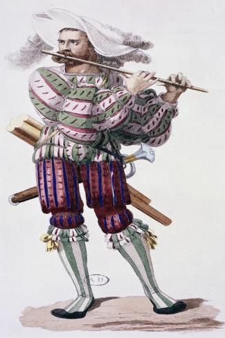 Flute Player in Striped Acrobat Clothes from 19th Century Lithograph, Germany Giclee Print