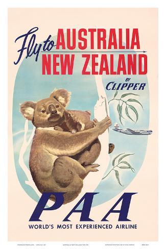 Fly to Australia and New Zealand c.1950s Art Print