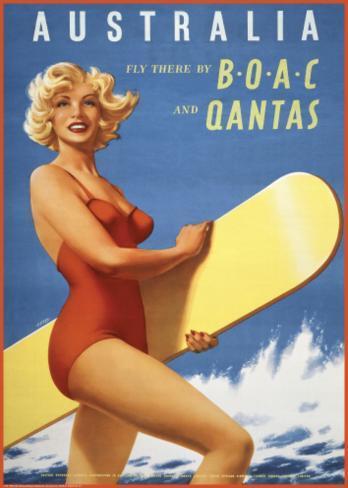 Fly to Australia by BOAC and Qantas Art Print