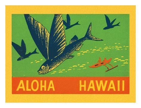 Flying Fish, Aloha Hawaii, c.1940 Giclee Print