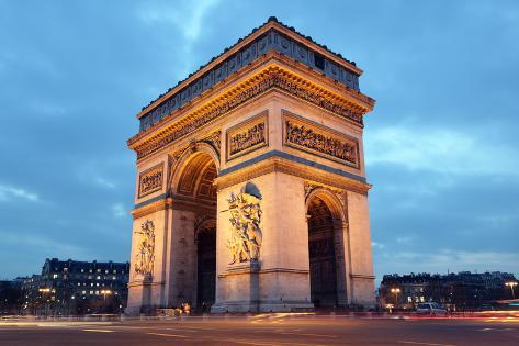 Arc De Triomphe in Paris, France at Night Photographic Print