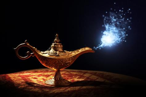 Magic Lamp From The Story Of Aladdin With Genie Appearing In Blue Smoke Concept For Wishing Luck A