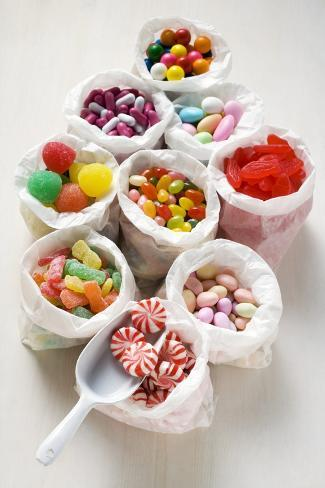 Assorted Sweets in Paper Bags (Usa) Photographic Print