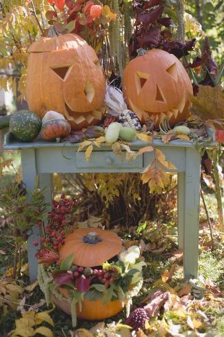 Autumnal Garden Decoration with Pumpkins Valokuvavedos