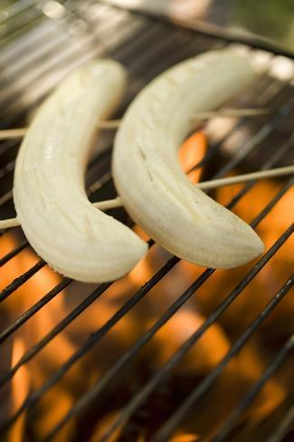 Bananas on Barbecue Grill Rack Photographic Print